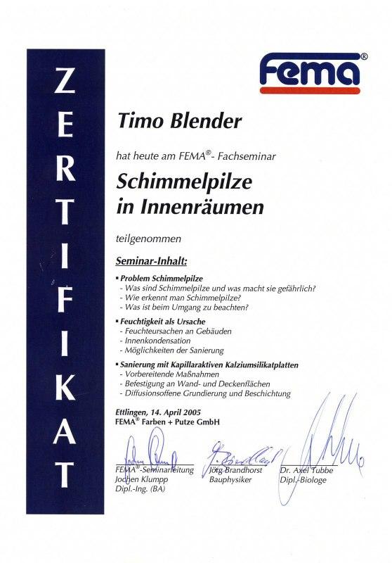 Zertifikat Schimmelpilze