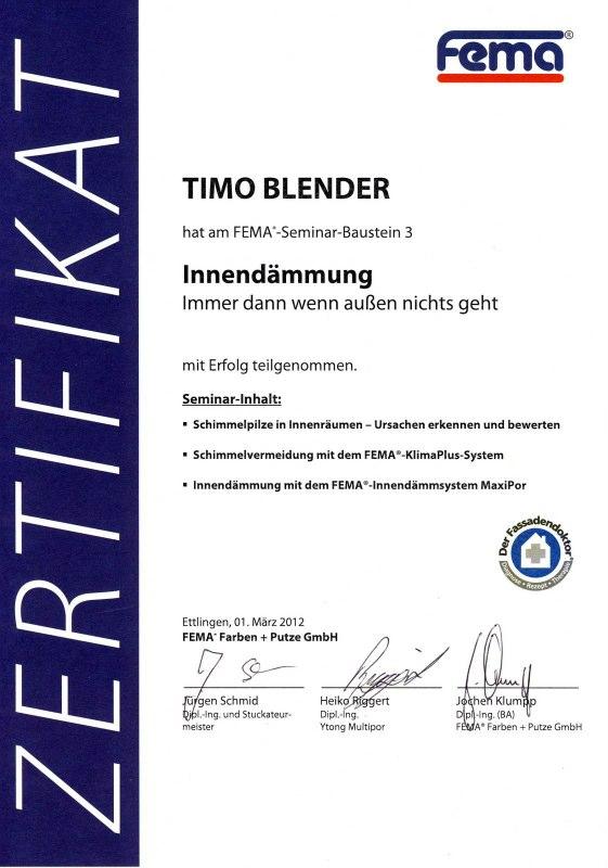 Innendämmung Zertifikat