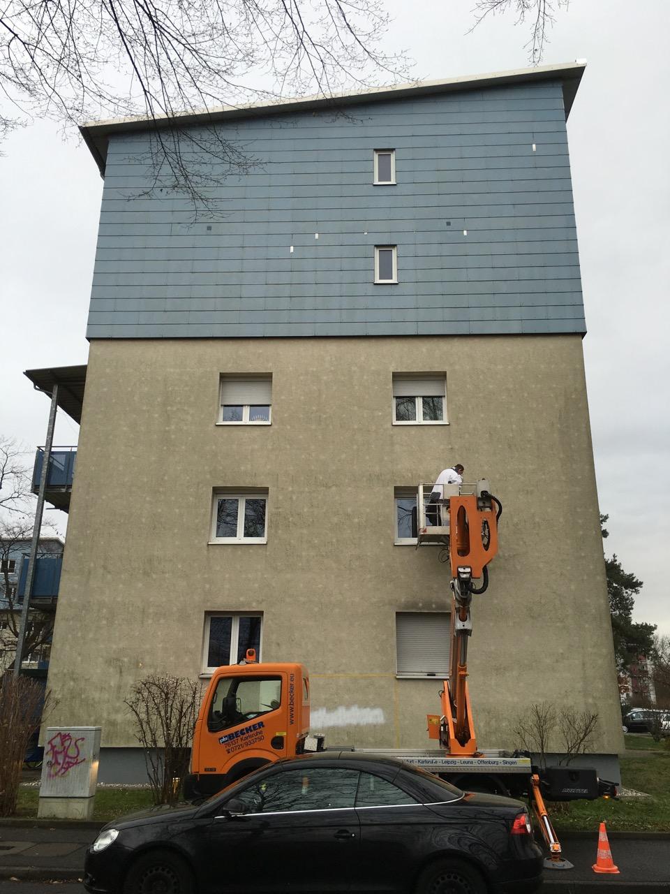 Fassadenarbeiten in der Karlsruher Nordstadt